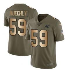 Men's Nike Carolina Panthers #59 Luke Kuechly Limited Olive/Gold 2017 Salute to Service NFL Jersey