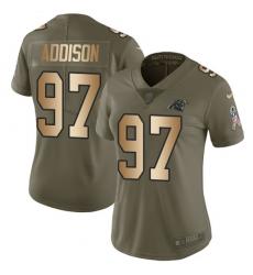 Women's Nike Carolina Panthers #97 Mario Addison Limited Olive/Gold 2017 Salute to Service NFL Jersey