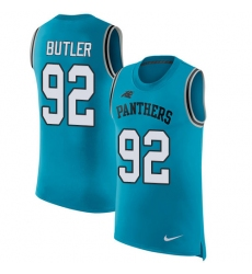 Men's Nike Carolina Panthers #92 Vernon Butler Limited Blue Rush Player Name & Number Tank Top NFL Jersey