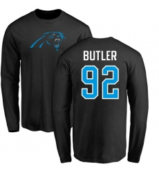 NFL Nike Carolina Panthers #92 Vernon Butler Black Name & Number Logo Long Sleeve T-Shirt