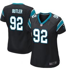 Women's Nike Carolina Panthers #92 Vernon Butler Game Black Team Color NFL Jersey