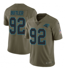 Youth Nike Carolina Panthers #92 Vernon Butler Limited Olive 2017 Salute to Service NFL Jersey