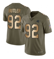 Youth Nike Carolina Panthers #92 Vernon Butler Limited Olive/Gold 2017 Salute to Service NFL Jersey