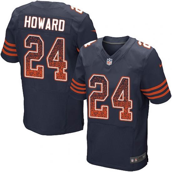 Men's Nike Chicago Bears #24 Jordan Howard Elite Navy Blue Alternate Drift Fashion NFL Jersey