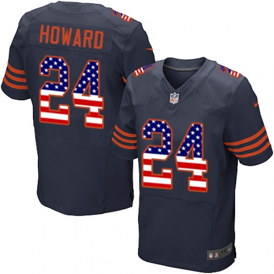 Men's Nike Chicago Bears #24 Jordan Howard Elite Navy Blue Alternate USA Flag Fashion NFL Jersey