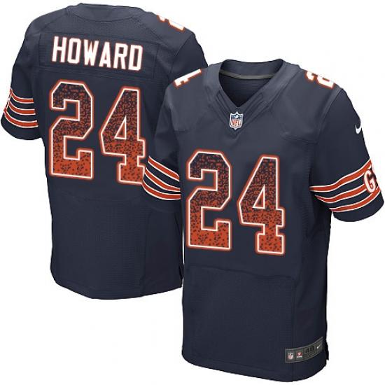 Men's Nike Chicago Bears #24 Jordan Howard Elite Navy Blue Home Drift Fashion NFL Jersey