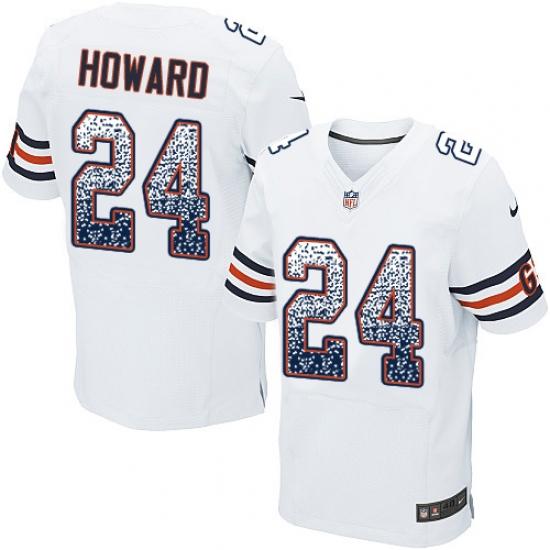 Men's Nike Chicago Bears #24 Jordan Howard Elite White Road Drift Fashion NFL Jersey