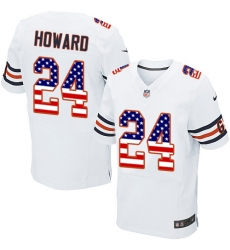 Men's Nike Chicago Bears #24 Jordan Howard Elite White Road USA Flag Fashion NFL Jersey