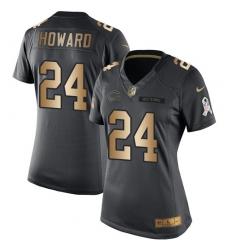Women's Nike Chicago Bears #24 Jordan Howard Limited Black/Gold Salute to Service NFL Jersey