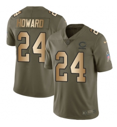 Youth Nike Chicago Bears #24 Jordan Howard Limited Olive/Gold Salute to Service NFL Jersey