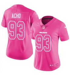 Women's Nike Chicago Bears #93 Sam Acho Limited Pink Rush Fashion NFL Jersey
