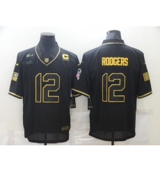Men's Green Bay Packers #12 Aaron Rodgers Black C patch Nike 2020 Salute To Service Limited Jersey