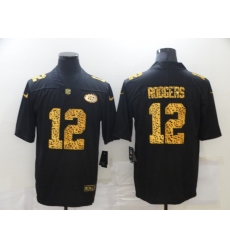 Men's Green Bay Packers #12 Aaron Rodgers Black Nike Leopard Print Limited Jersey