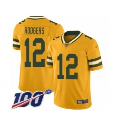 Men's Green Bay Packers #12 Aaron Rodgers Limited Gold Inverted Legend 100th Season Football Jersey