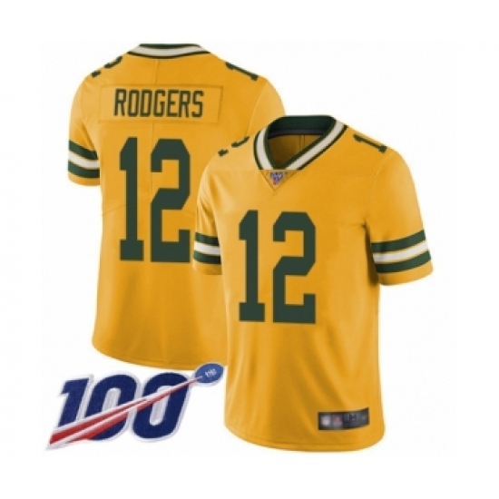 Men's Green Bay Packers #12 Aaron Rodgers Limited Gold Rush Vapor Untouchable 100th Season Football Jersey
