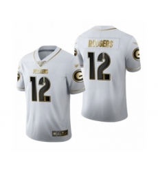 Men's Green Bay Packers #12 Aaron Rodgers Limited White Golden Edition Limited Football Jersey
