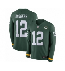 Men's Nike Green Bay Packers #12 Aaron Rodgers Limited Green Therma Long Sleeve NFL Jersey