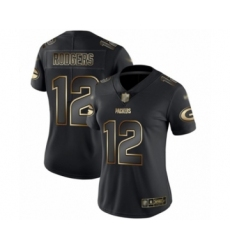 Women's Green Bay Packers #12 Aaron Rodgers Limited Black Gold Vapor Untouchable Limited Football Jersey