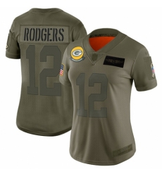 Women's Green Bay Packers #12 Aaron Rodgers Limited Camo 2019 Salute to Service Football Jersey