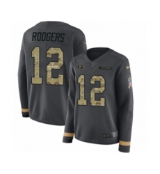 Women's Nike Green Bay Packers #12 Aaron Rodgers Limited Black Salute to Service Therma Long Sleeve NFL Jersey
