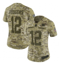 Women's Nike Green Bay Packers #12 Aaron Rodgers Limited Camo 2018 Salute to Service NFL Jersey