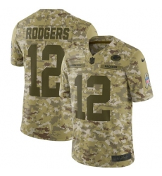 Youth Nike Green Bay Packers #12 Aaron Rodgers Limited Camo 2018 Salute to Service NFL Jersey