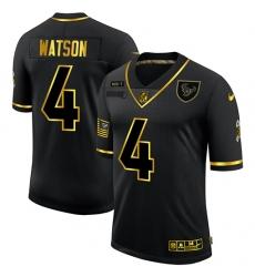 Men's Houston Texans #4 Deshaun Watson Olive Gold Nike 2020 Salute To Service Limited Jersey