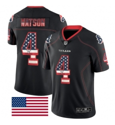 Men's Nike Houston Texans #4 Deshaun Watson Limited Black Rush USA Flag NFL Jersey