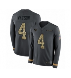 Men's Nike Houston Texans #4 Deshaun Watson Limited Black Salute to Service Therma Long Sleeve NFL Jersey