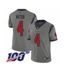 Men's Nike Houston Texans #4 Deshaun Watson Limited Gray Inverted Legend 100th Season NFL Jersey