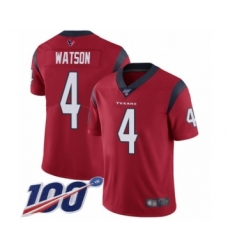 Men's Nike Houston Texans #4 Deshaun Watson Red Alternate Vapor Untouchable Limited Player 100th Season NFL Jersey