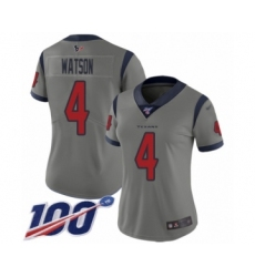 Women's Nike Houston Texans #4 Deshaun Watson Limited Gray Inverted Legend 100th Season NFL Jersey