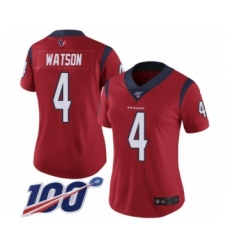 Women's Nike Houston Texans #4 Deshaun Watson Red Alternate Vapor Untouchable Limited Player 100th Season NFL Jersey