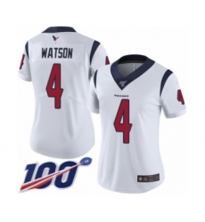 Women's Nike Houston Texans #4 Deshaun Watson White Vapor Untouchable Limited Player 100th Season NFL Jersey