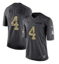 Youth Nike Houston Texans #4 Deshaun Watson Limited Black 2016 Salute to Service NFL Jersey
