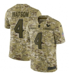 Youth Nike Houston Texans #4 Deshaun Watson Limited Camo 2018 Salute to Service NFL Jersey