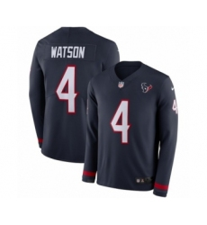 Youth Nike Houston Texans #4 Deshaun Watson Limited Navy Blue Therma Long Sleeve NFL Jersey