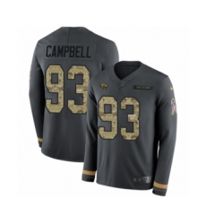 Men's Nike Jacksonville Jaguars #93 Calais Campbell Limited Black Salute to Service Therma Long Sleeve NFL Jersey