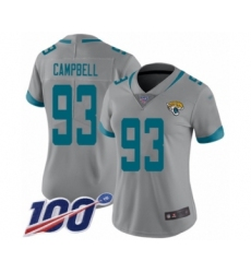 Women's Jacksonville Jaguars #93 Calais Campbell Silver Inverted Legend Limited 100th Season Football Jersey
