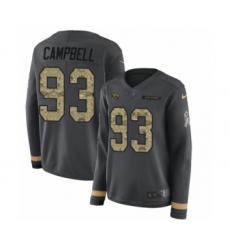 Women's Nike Jacksonville Jaguars #93 Calais Campbell Limited Black Salute to Service Therma Long Sleeve NFL Jersey