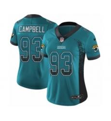 Women's Nike Jacksonville Jaguars #93 Calais Campbell Limited Teal Green Rush Drift Fashion NFL Jersey