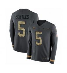 Men's Nike Jacksonville Jaguars #5 Blake Bortles Limited Black Salute to Service Therma Long Sleeve NFL Jersey