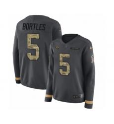 Women's Nike Jacksonville Jaguars #5 Blake Bortles Limited Black Salute to Service Therma Long Sleeve NFL Jersey