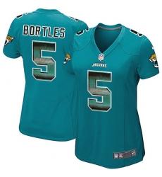 Women's Nike Jacksonville Jaguars #5 Blake Bortles Limited Teal Green Strobe NFL Jersey