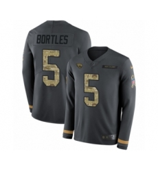 Youth Nike Jacksonville Jaguars #5 Blake Bortles Limited Black Salute to Service Therma Long Sleeve NFL Jersey