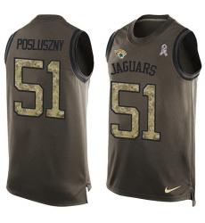 Men's Nike Jacksonville Jaguars #51 Paul Posluszny Limited Green Salute to Service Tank Top NFL Jersey