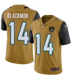 Men's Nike Jacksonville Jaguars #14 Justin Blackmon Limited Gold Rush Vapor Untouchable NFL Jersey