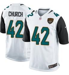 Men's Nike Jacksonville Jaguars #42 Barry Church Game White NFL Jersey