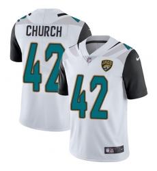Men's Nike Jacksonville Jaguars #42 Barry Church White Vapor Untouchable Limited Player NFL Jersey