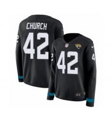 Women's Nike Jacksonville Jaguars #42 Barry Church Limited Black Therma Long Sleeve NFL Jersey